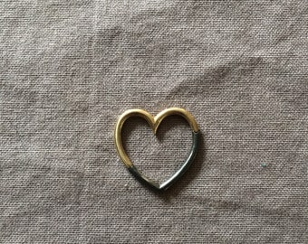 Heart Connector - Oxidized Silver + Gold