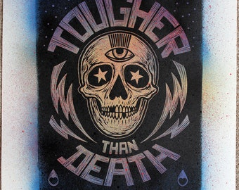 Tougher Than Death - Number 17. Lino print on hand painted Japanese paper.