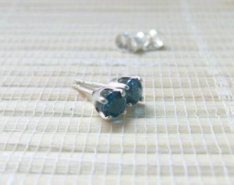 London Blue Topaz Stud Earrings Sterling Silver December Birthstone 4mm