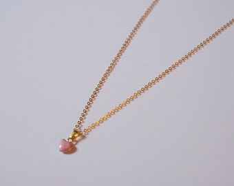 Delicate Tiny Pink Heart Necklace