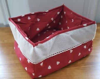 Rectangular basket with aida embroidery band