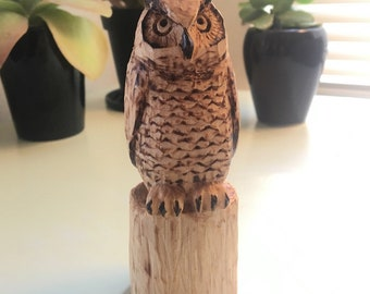 Hand Carved Wood Great Horned Owl Figurine