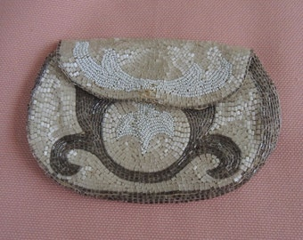 Vintage Beaded Change Purse - Art Deco Change Purse - 4 By 6 Inches - REDuCED