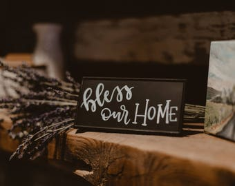 Bless Our Home - Custom Hand Lettering Small Metal Chalkboard Sign