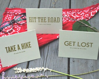Take A Hike Series / Handmade Letterpress Greeting Card Boxed Set / Adventure Greeting Cards