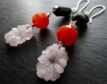 Flower LUXE Spinel, Carnelian & Rose Quartz - Gemstone Earrings - Sterling Silver - Etsy Accessories - catROCKS - Grace Frankie - Pink Black