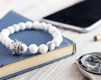 8mm - The White King II - White howlite beaded stretchy bracelet with silver micro pave crown, womens bracelet, mens beaded bracelet
