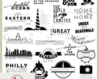 Digital and Printable Overlay Word Set Art - Instant Download - The East Coast - Travel Art