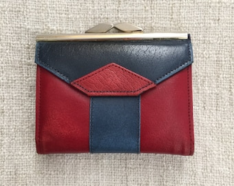 80s Great Britain Themed Red and Blue Leather Wallet