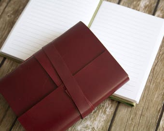"""4x6"""" Lined leather journal, leather notebook, travel journal notebook, hand bound leather diary, leather sketchbook, blank book"""