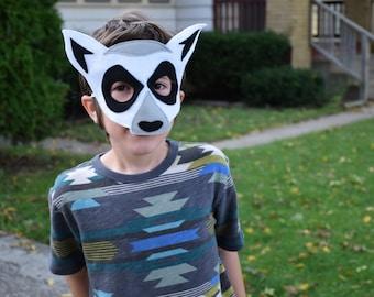 Handmade felt lemur mask, tail