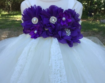 Purple and ivory tulle flower girl dress, girls purple tulle dress, purple and ivory wedding