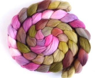 Rambouillet Wool Roving - Hand Painted Spinning or Felting Fiber, Scottish Heather
