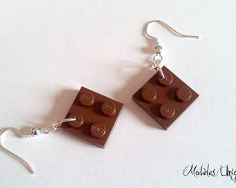 Lego brick Brown earrings