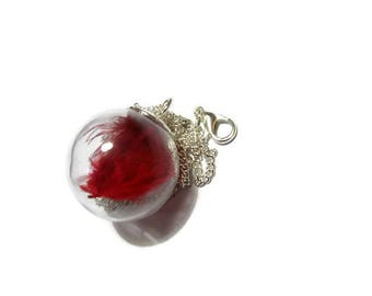 """""""Feather bubble"""" glass ball necklace"""