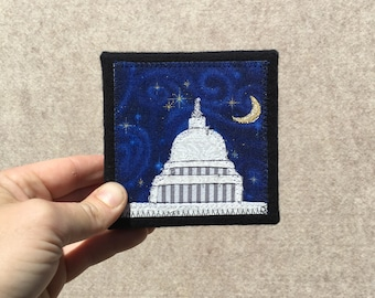Mini Capitol Building at Midnight, 4x4 inches, original sewn fabric artwork, handmade, freehand appliqué, ready to hang canvas