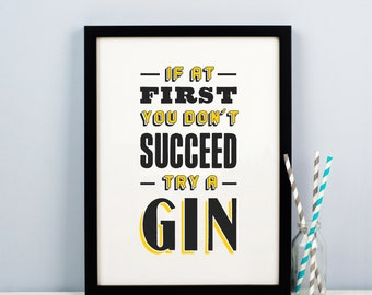 Funny Gin Print, Gin Poster, Gin Quote, Gin Lover Gift, Typography Print, Gin Wall Art, Typography Wall Art, Gin Gift, Gin Art, Gin & Tonic