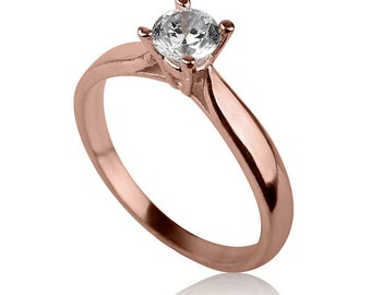 Rose Gold Solitaire Ring , Solitaire Engagement Ring , 14k Rose Gold Engagement Ring , Rose Gold and Diamond Ring