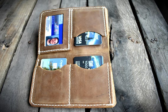 Leather Wallet Large Leather Bifold; travel wallet; MADE IN ALASKA;