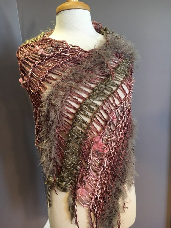 Woven Fringed Poncho, Shaggy Chic,  'Blush', boho chic, Multitextural Fringed Knit Poncho, taupe mauve pink, shoulder wrap, cover up, scarf