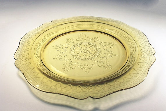 Dinner Plate, Federal Glass, Patrician Spoke, Amber, Depression Glass, Serving Plate