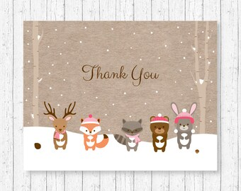 Winter Woodland Forest Animals Thank You Card / Woodland Baby Shower / Pink Woodland / Folded Card / PRINTABLE Instant Download A121