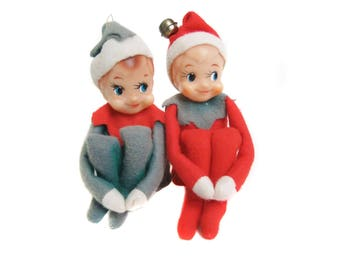 Vintage Pixie Elf Shelf Sitters, Boy Elf Pixie Christmas Decorations, Mid Century, Red Green White, 1960's Pixie Elf Knee Huggers