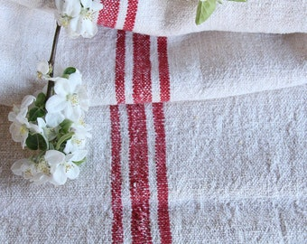 FP 480 :antique grain sack, STRAWBERRY Red, 49.61 long,holiday feeling pillow cushion, decor, french lin tablerunner, upholstery, old linen