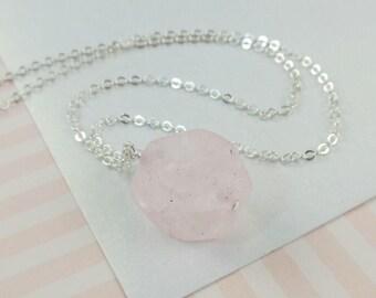 Pink Quartz Chunk Necklace   --  Jones  --