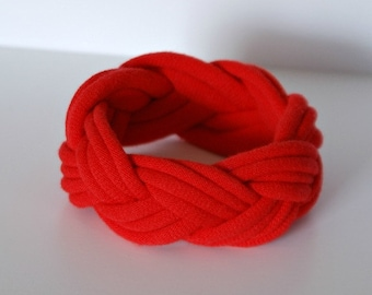 Fabric Bracelet Cuff in Red - by LimeGreenLemon