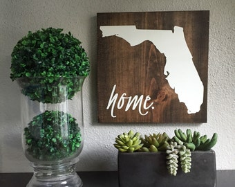 Home State Wood Sign, State Sign, Wood State Art, Hand Painted Rustic Home Decor, Wall Art