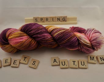 "Hand-dyed yarn, ""Spring Meets Autumn"", variegated, soft and squishy yarn. Great for socks or shawls. 80/20 Superwash wool/Nylon"