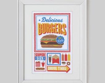 Fast Food Cross Stitch Sampler Pattern (Digital Format - PDF)
