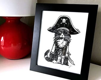 Pirate Cat 8x10 Black and White Captain Hook Print Wall Art Decor by GIGART