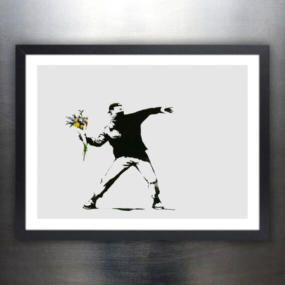 Banksy Bombardero de la flor cartel 18 x 24