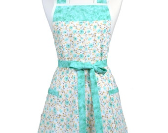 Womens Vintage Apron - Green and Soft Yellow Farmhouse Floral Apron - Cute Retro 50s Kitchen Apron - Over the Head Apron - Monogram Option