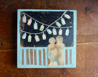 Valentine Art, Patio Lanterns, Childhood Memories, first Kiss, Little Couple Art, Bedroom Picture, Reclaimed Art, romantic recycled collage