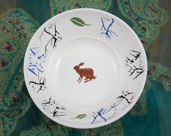 Pottery fruit Bowl, The Brown Hare Ceramic fruit Bowl, Wedding Gift, Serving Bowl