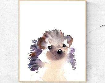 Hedgehog Watercolour Fine Art Print, Woodland Nursery Art, Hedgehog Wall Decor, Baby Animal Print, Printable Digital Poster Download