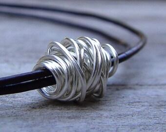 Silver Wire Ball On a Dark Chocolate Leather Bracelet, Womens Leather Bracelet, Wrap Bracelet, Wire Wrap Bracelet