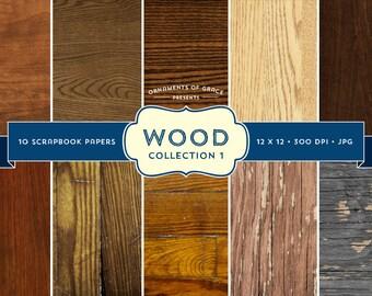 10 Wood Scrapbook Papers - Collection 1 - Digital Download - 300 dpi 12x12 jpg