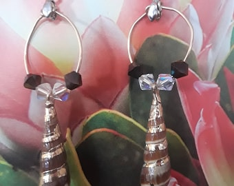 Crystal Shell Dangle Earrings