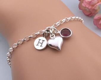 Silver Heart Bracelet, Personalized Love Heart Bracelet, Handmade Silver Bracelets, Sister Bracelets, Heart Charm Bracelet With Birthstone