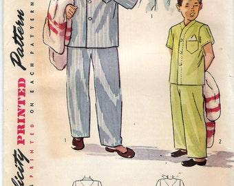 """Vintage 1948 Simplicity 2541 Boy's Pajamas 2 Styles Sewing Pattern Size 6 Chest 24"""" UNCUT"""