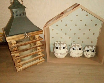 Home personalized with her OWL wood shelf