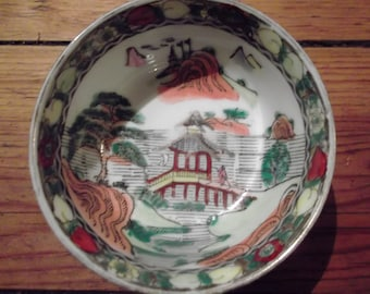 ANTIQUE CHINESE BOWL,handpainted dipping bowl, made in Macau