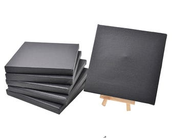 Set of 6pcs Mini Artist Black Canvas Frame 6x6inch ( 15x15cm ) Oil Water Painting Board Flat Canvas with 1pc Mini Wood Display Easel