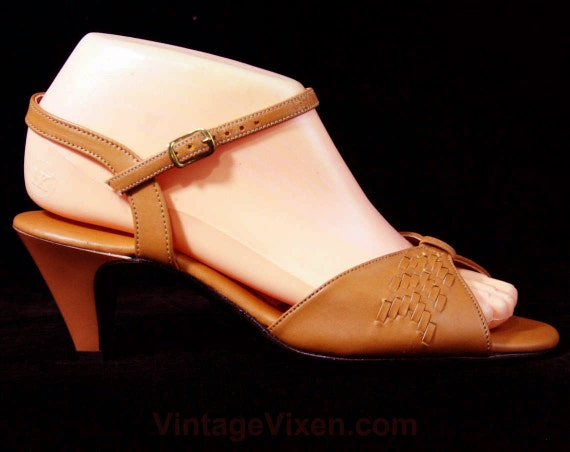 6 Deadstock 70s Size Size Puppies Style 5 30s Sandals Hush 1970s Deco Woven Open W 43253 Strappy 2 Tan Heels 1 2 Shoes Toe 6 FwFqBHY