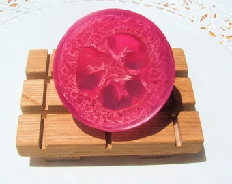 Exfoliating Cherry Almond Loofah Soap - Glycerin
