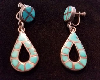 Turquoise Inlay, Zuni, Old, Screw Back Style
